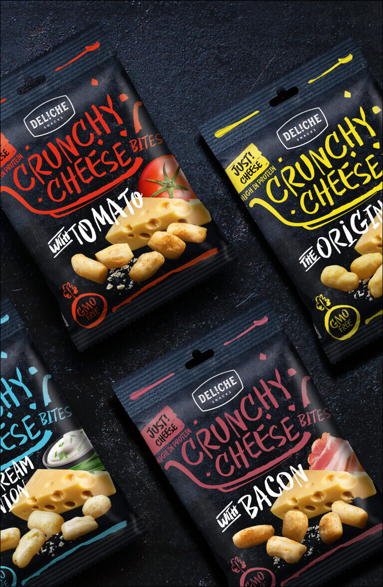 Deliche Crunchy Cheese - packaging design