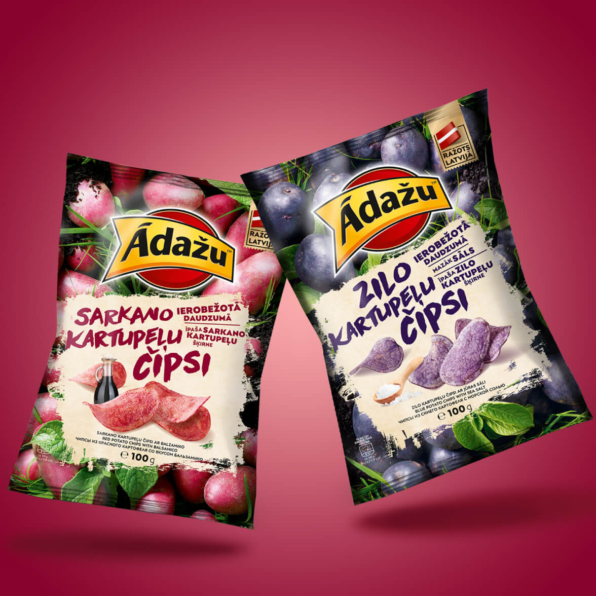 Adazu Blue and Red Potato Chips - packaging design