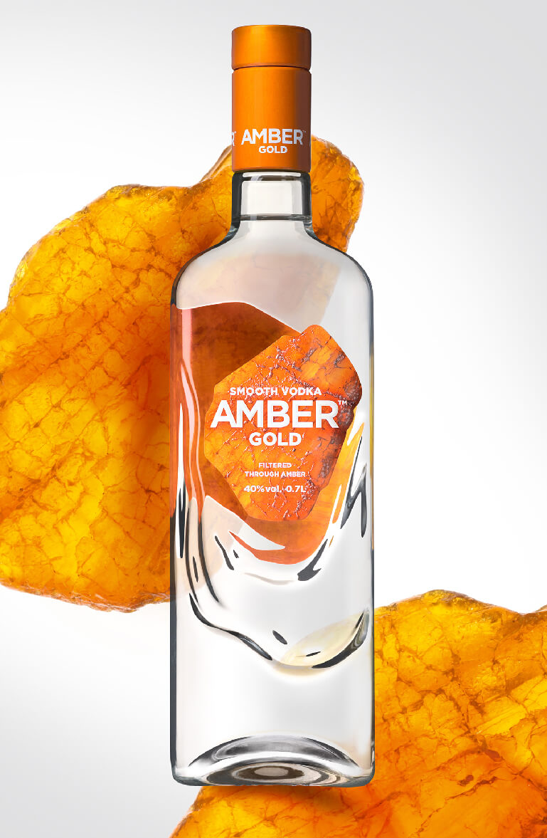 Amber Gold Vodka - bottle and label design