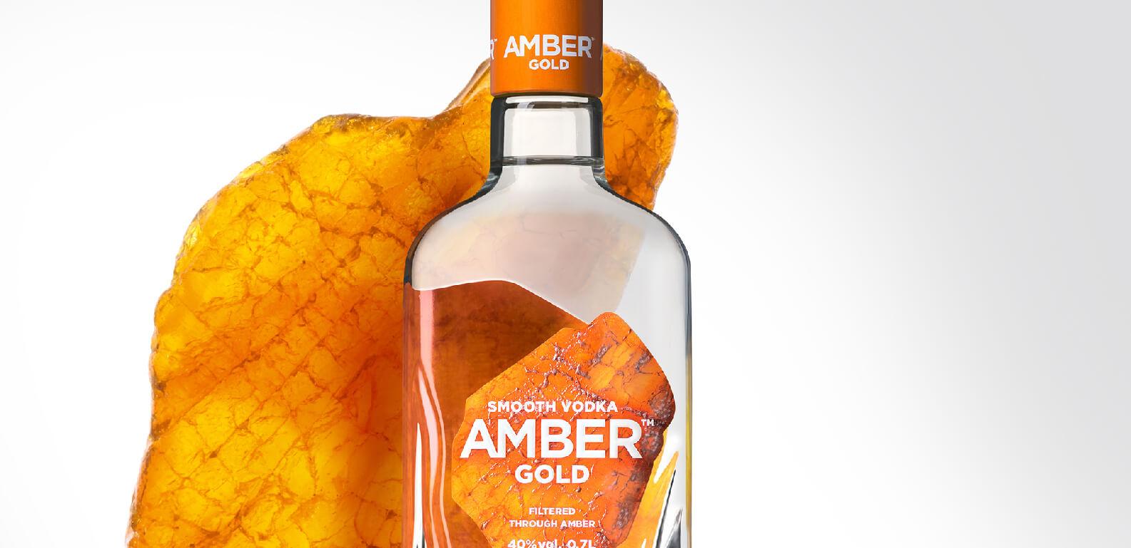 Amber Gold Vodka - bottle and label design