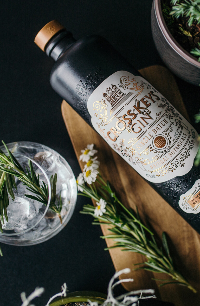 CrossKeys Gin - identity and packaging design