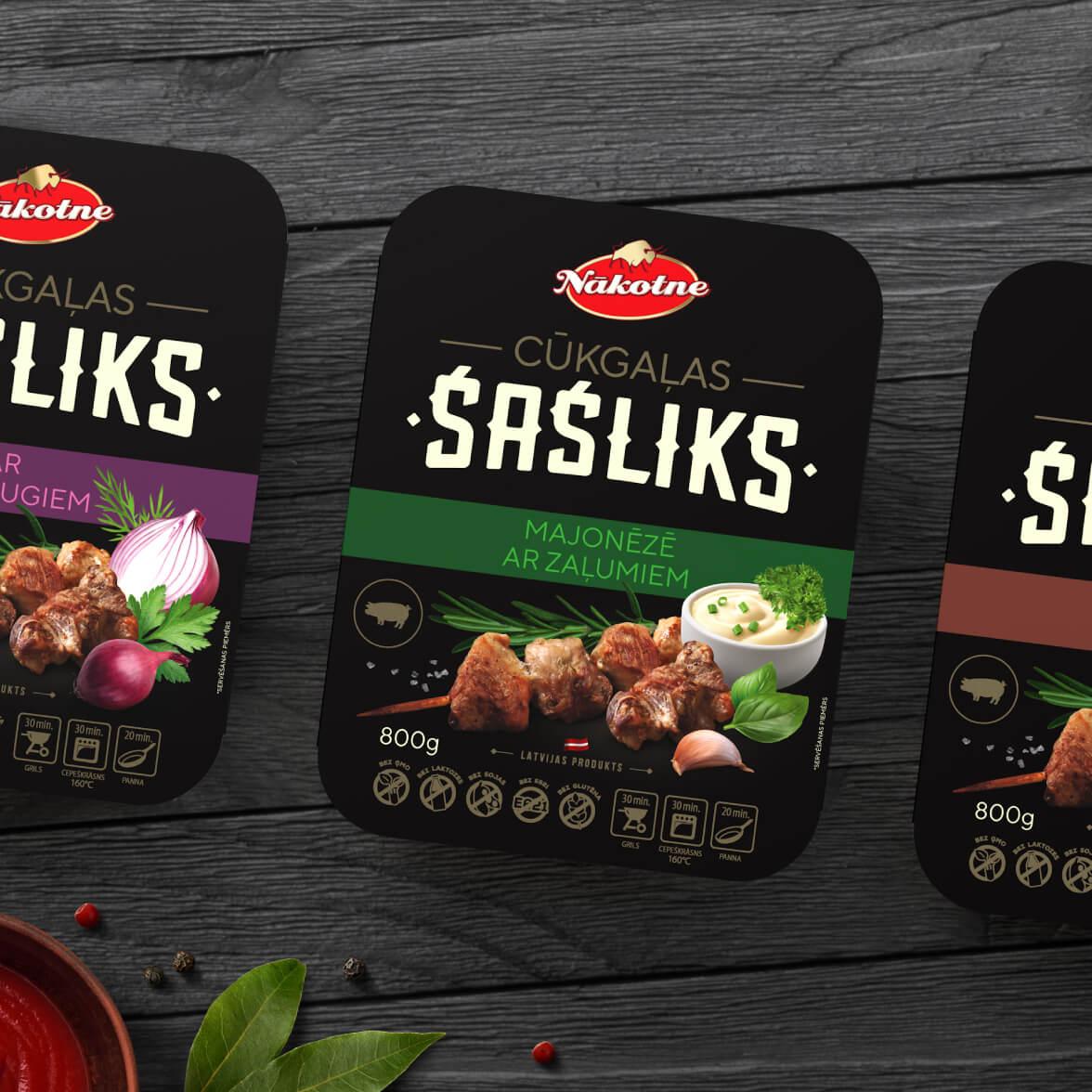 Nākotne pork barbecue meat - packaging design
