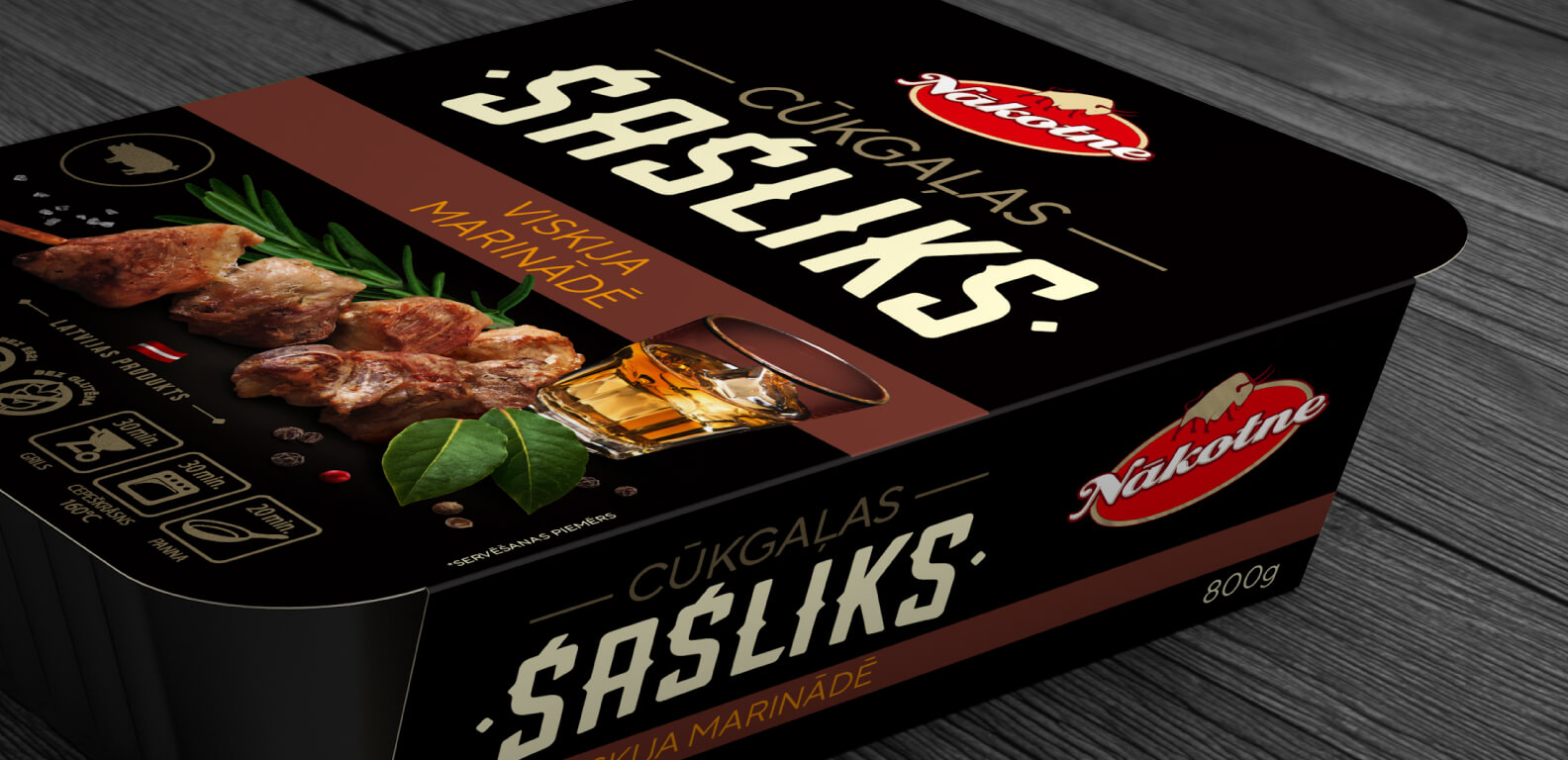 Nākotne pork barbecue meat - packaging design