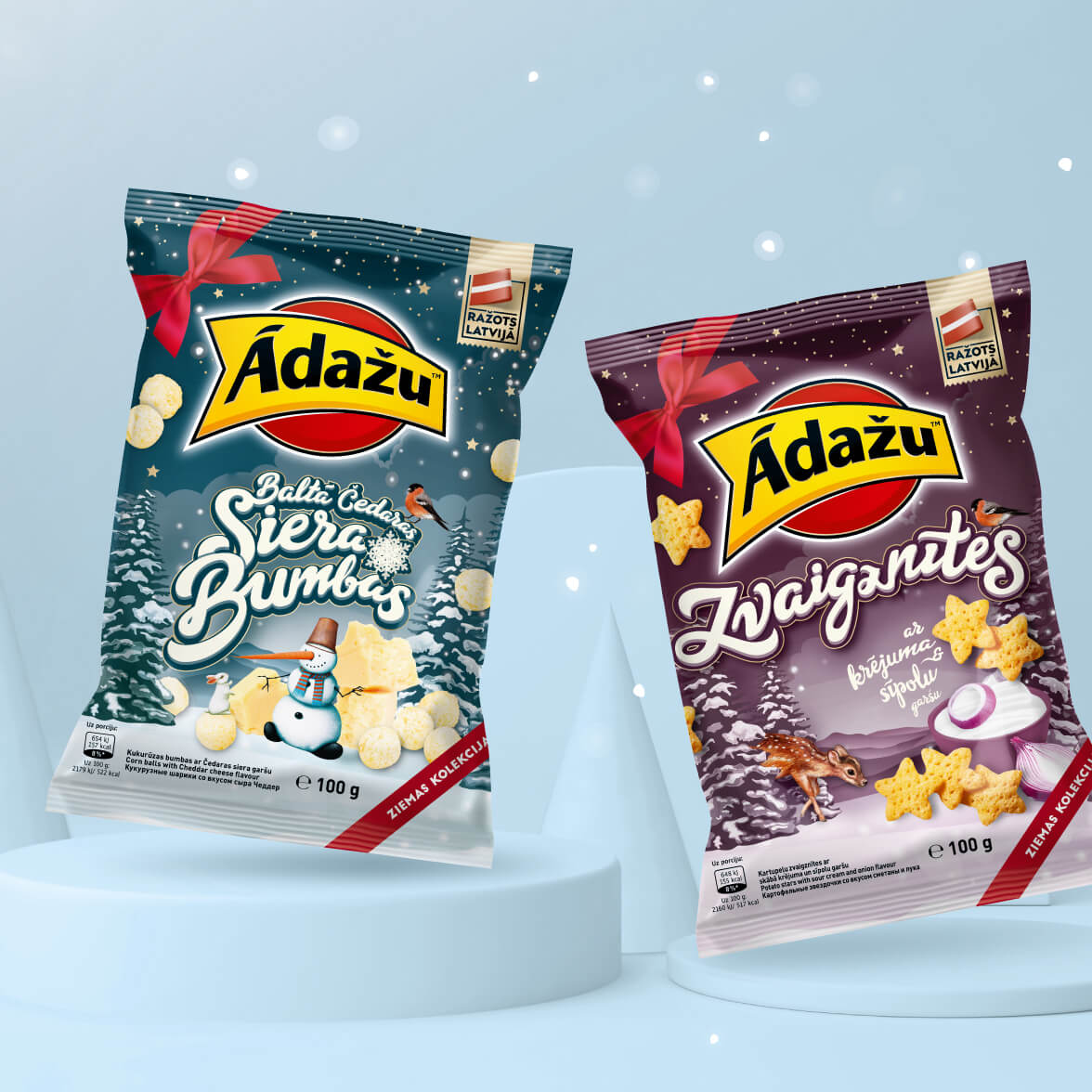 Ādažu Cheese balls Winter edition - packaging design