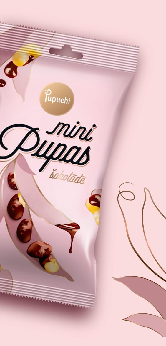 Pupuchi Mini beans in chocolate - packaging design